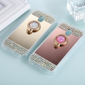 For Samsung Galaxy J5 (2017) (EU Version) Diamond Encrusted Electroplating Mirror Protective Cover Case with Ring Holder(Gold)