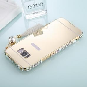 For Galaxy S8 Pearl Chain Pendant Diamond Encrusted Electroplating Mirror PC Protective Cover Case (Gold)