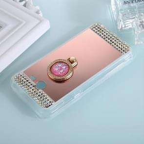 For Samsung Galaxy J7 (2017) (US Version) Diamond Encrusted Electroplating Mirror Protective Cover Case with Ring Holder(Rose Gold)