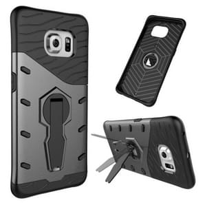 For Samsung Galaxy S6 Edge / G925 Shock-Resistant 360 Degree Spin Tough Armor TPU+PC Combination Case with Holder(Black)