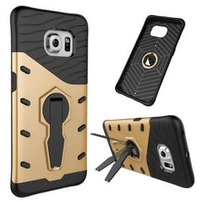 For Samsung Galaxy S6 Edge / G925 Shock-Resistant 360 Degree Spin Tough Armor TPU+PC Combination Case with Holder(Gold)