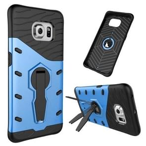 For Samsung Galaxy S6 Edge / G925 Shock-Resistant 360 Degree Spin Tough Armor TPU+PC Combination Case with Holder(Blue)