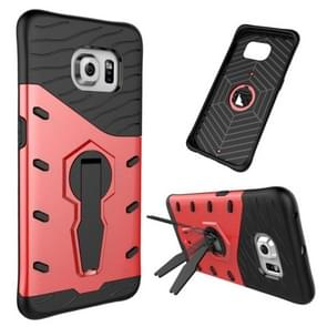 For Samsung Galaxy S6 Edge / G925 Shock-Resistant 360 Degree Spin Tough Armor TPU+PC Combination Case with Holder(Red)