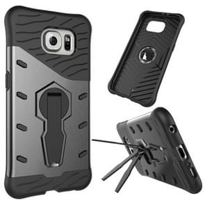 For Samsung Galaxy S6 / G920 Shock-Resistant 360 Degree Spin Tough Armor TPU+PC Combination Case with Holder(Black)