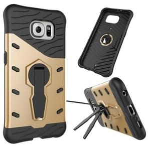 For Samsung Galaxy S6 / G920 Shock-Resistant 360 Degree Spin Tough Armor TPU+PC Combination Case with Holder(Gold)