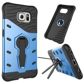 For Samsung Galaxy S6 / G920 Shock-Resistant 360 Degree Spin Tough Armor TPU+PC Combination Case with Holder(Blue)