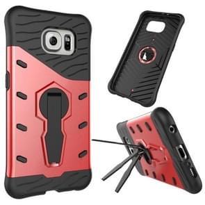 For Samsung Galaxy S6 / G920 Shock-Resistant 360 Degree Spin Tough Armor TPU+PC Combination Case with Holder(Red)