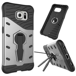 For Samsung Galaxy S6 / G920 Shock-Resistant 360 Degree Spin Tough Armor TPU+PC Combination Case with Holder(Silver)