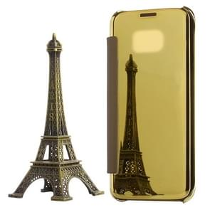 For Samsung Galaxy S7 Edge / G935 Electroplating Mirror Horizontal Flip PC + PU Leather Case(Gold)