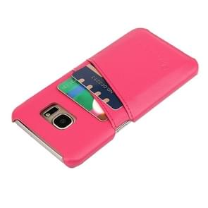For Samsung Galaxy S7 / G930 Litchi Texture Fashion Genuine Leather Back Cover Case with Card Slots(Magenta)