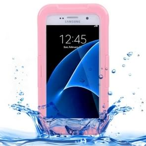 For Samsung Galaxy S7 / G930 IPX8 Plastic + Silicone Transparent Waterproof Protective Case with Lanyard (Pink)