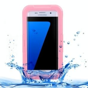 For Samsung Galaxy S7 Edge / G935 IPX8 Plastic + Silicone Transparent Waterproof Protective Case with Lanyard(Pink)