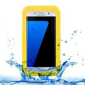 For Samsung Galaxy S7 Edge / G935 IPX8 Plastic + Silicone Transparent Waterproof Protective Case with Lanyard(Yellow)