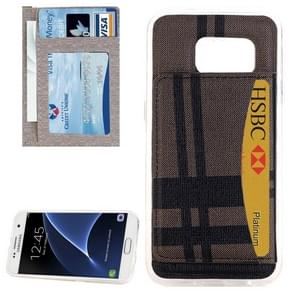 For Samsung Galaxy S7 / G930 Lattice Stripes Pattern Protective Case with Holder & Card Slot(Coffee)