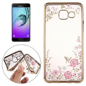 For Galaxy A5(2016) / A510 Flowers Patterns Electroplating Soft TPU Protective Cover Case(Gold)
