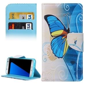 For Samsung Galaxy S7 Edge / G935 Blue Butterfly Pattern Horizontal Flip Leather Case with Holder & Card Slots & Wallet