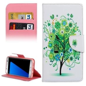 For Samsung Galaxy S7 Edge / G935 Green Tree in Bloom Pattern Horizontal Flip Leather Case with Holder & Card Slots & Wallet
