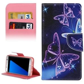 For Samsung Galaxy S7 Edge / G935 Purple Crystal Butterflies Pattern Horizontal Flip Leather Case with Holder & Card Slots & Wallet