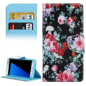 For Samsung Galaxy S7 Edge / G935 Flower Pattern Horizontal Flip Leather Case with Holder & Card Slots & Wallet