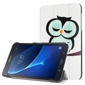 Owl in Deep Thought Pattern Horizontal Flip Leather Case with Three-folding Holder for Samsung Galaxy Tab A 7.0 2016 / T280N