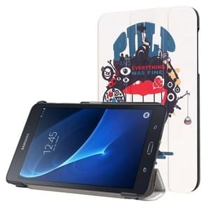 Abstract Splicing Cartoon Pattern Horizontal Flip Leather Case with Three-folding Holder for Samsung Galaxy Tab A 7.0 2016 / T280N