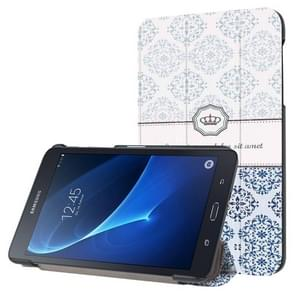National Style Flower Texture Pattern Horizontal Flip Leather Case with Three-folding Holder for Samsung Galaxy Tab A 7.0 2016 / T280N