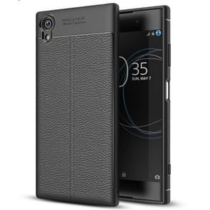 For Sony Xperia XA1 Plus Litchi Texture Soft TPU Protective Case(Black)