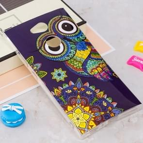 Voor Sony Xperia L2 Noctilucent Ethnic Uil patroon TPU Soft Back hoesje beschermings Cover