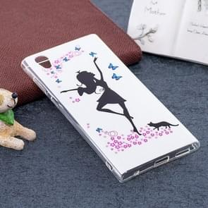 For Sony Xperia L1 Noctilucent Dancing Girl Pattern TPU Soft Back Case Protective Cover