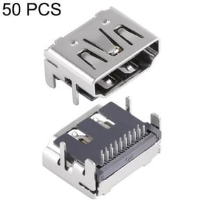 50 PCS 90 Degrees 2 Rows 19 Pin HDMI Female DIP Jack Socket Connector