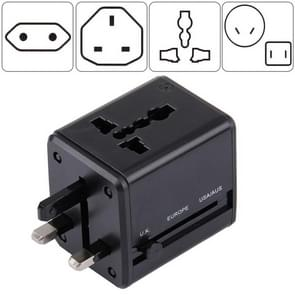 World-Wide Universal Travel Concealable Plugs Adapter with & Built-in Dual USB Ports Charger for US, UK, AU, EU(Black)