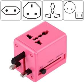 World-Wide Universal Travel Concealable Plugs Adapter with & Built-in Dual USB Ports Charger for US, UK, AU, EU(Pink)