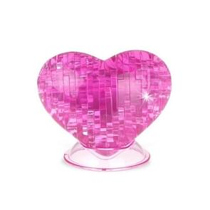3D DIY Heart Shaped Crystal Puzzle Jigsaw Ornament (46 PCS), Size: About 7 x 8 cm(Pink)