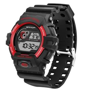 SANDA 5302 LED Backlight Display & Stopwatch & Alarm & Calendar Function Men Outdoor Sport Digital Watch with Silicon Band(Red)