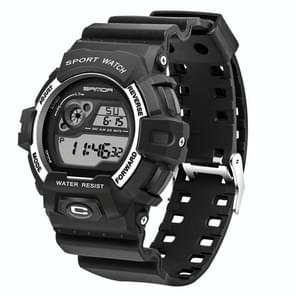 SANDA 5302 LED Backlight Display & Stopwatch & Alarm & Calendar Function Men Outdoor Sport Digital Watch with Silicon Band(Silver)