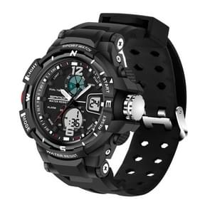 SANDA 5300 LED Backlight Display & Stopwatch & Alarm & Date and Week Function Men Quartz + Digital Dual Movement Watch with Silicon Band(Black)