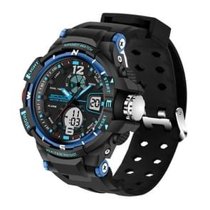SANDA 5300 LED Backlight Display & Stopwatch & Alarm & Date and Week Function Men Quartz + Digital Dual Movement Watch with Silicon Band(Blue)