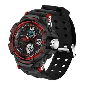 SANDA 5300 LED Backlight Display & Stopwatch & Alarm & Date and Week Function Men Quartz + Digital Dual Movement Watch with Silicon Band(Red)
