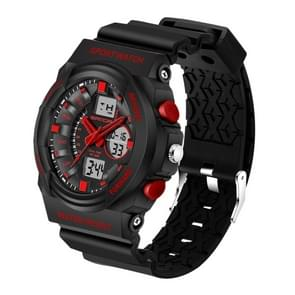 SANDA 5297 LED Night Light Display & Stopwatch & Alarm & Date and Week Function Men Quartz + Digital Dual Movement Watch with Plastic Band(Red)