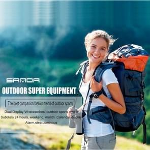 SANDA 5301 Luminous & Step & Alarm & Subdials 24 Hours & Date & Week & Month Display Function Men Quartz + Digital Dual Movement Watch with PU Plastic Band (White + Gold)