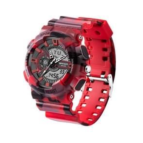 SANDA 5318 LED Luminous Display & Stopwatch & Alarm & Date and Week Function Men Quartz + Digital Dual Movement Watch with Plastic Band(Red)