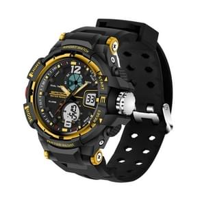 SANDA 5319 Big Size LED Luminous Display & Stopwatch & Alarm & Date and Week Function Men Quartz + Digital Dual Movement Watch with Plastic Band(Gold)