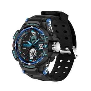 SANDA 5319 Big Size LED Luminous Display & Stopwatch & Alarm & Date and Week Function Men Quartz + Digital Dual Movement Watch with Plastic Band(Blue)