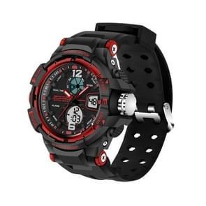 SANDA 5319 Big Size LED Luminous Display & Stopwatch & Alarm & Date and Week Function Men Quartz + Digital Dual Movement Watch with Plastic Band(Red)