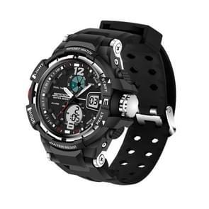 SANDA 5319 Small Size LED Luminous Display & Stopwatch & Alarm & Date and Week Function Men Quartz + Digital Dual Movement Watch with Plastic Band(Black)