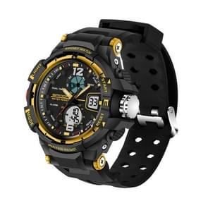 SANDA 5319 Small Size LED Luminous Display & Stopwatch & Alarm & Date and Week Function Men Quartz + Digital Dual Movement Watch with Plastic Band(Gold)