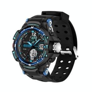 SANDA 5319 Small Size LED Luminous Display & Stopwatch & Alarm & Date and Week Function Men Quartz + Digital Dual Movement Watch with Plastic Band(Blue)