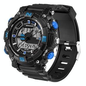 SANDA 5320 LED Luminous Display & Stopwatch & Alarm & Date and Week Function Men Quartz + Digital Dual Movement Watch with Plastic Band(Blue)