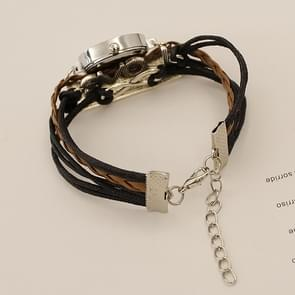 JIANGYUYAN PU Woven Strap LOVE GL68 Quartz Movement Bracelet Watch with Lobster Clasp