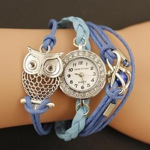 JIANGYUYAN Blue PU Woven Strap Owl GL68 Quartz Movement Bracelet Watch with Lobster Clasp